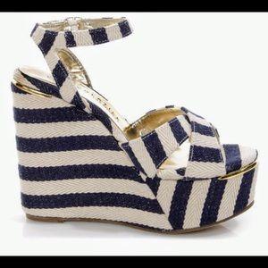 "fb5b282793be4 Very Volatile Shoes - VERY VOLATILE ""NAUTTIE"" STRIPED PLATFORM WEDGES"